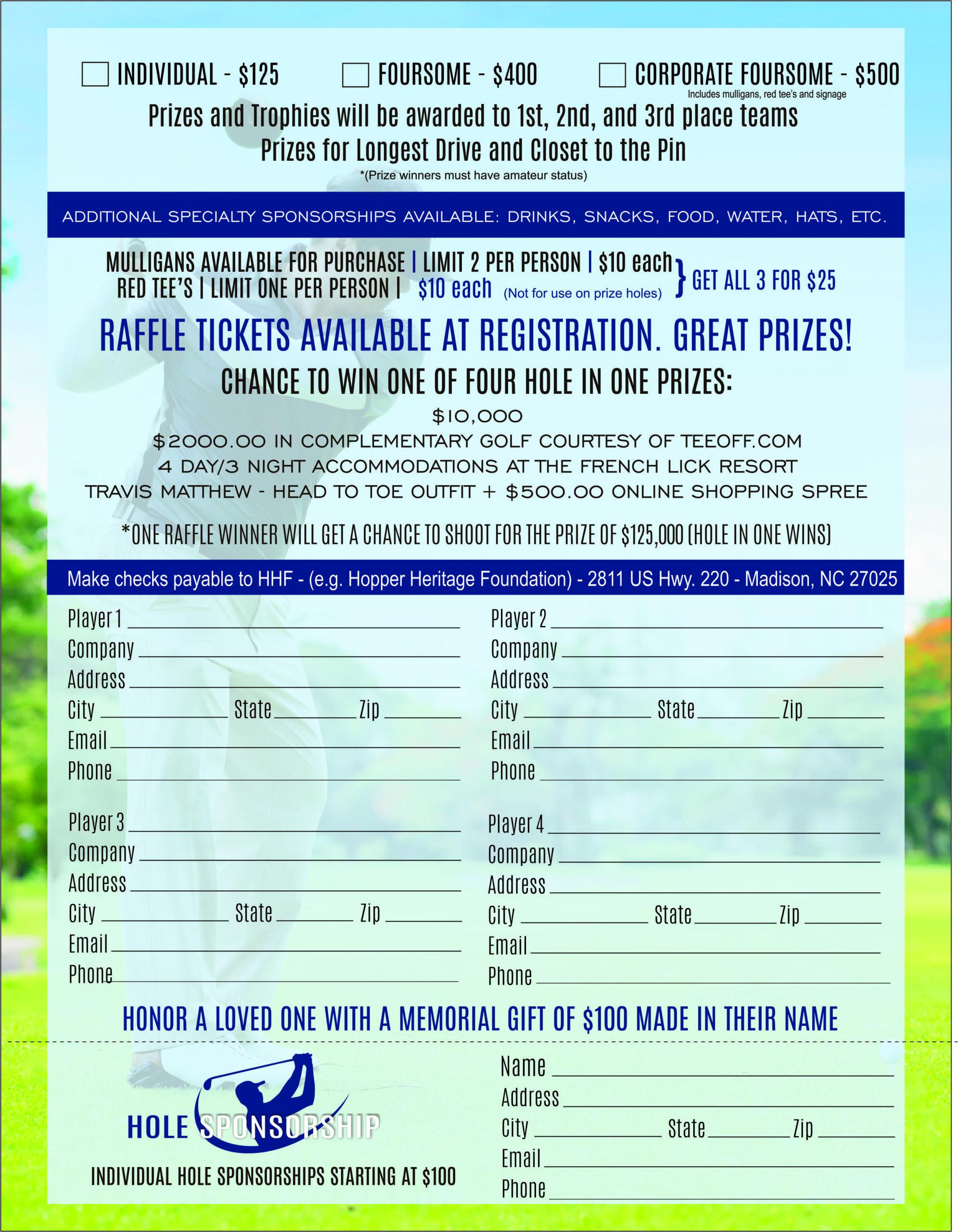 2020 HHF NC Golf Tournament Flyer back